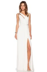 Halston Draped Cowl Back Gown Ivory