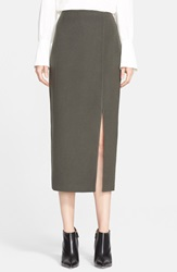 Nordstrom Signature And Caroline Issa 'Zealander' Slim Wool Pencil Skirt Olive Tarmac
