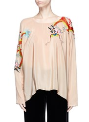 Ms Min Dragon Embroidered Batwing Sleeve Silk Crepe Top Neutral