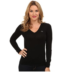 Lacoste Long Sleeve Cotton Double Overlay V Neck Sweater Black Women's Long Sleeve Pullover