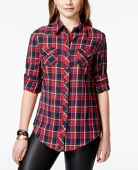 Angie Juniors' Plaid Button Down Shirt
