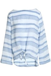 Kain Label Knotted Striped Cotton Gauze Top Azure