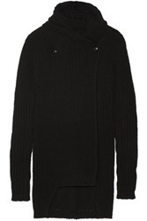 Rick Owens Hooded Chunky Knit Wool Cardigan Black