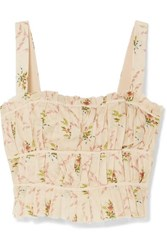 Brock Collection Pleated Floral Print Cotton Gauze Bustier Top Pastel Pink