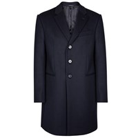 Emporio Armani T Line Navy Wool Blend Coat