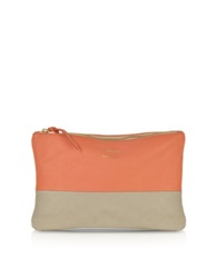 Le Parmentier Color Block Nappa Leather Zip Pouch Taupe Coral