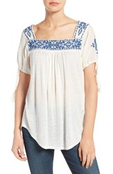 Lucky Brand Women's Embroidered Slub Knit Top Eggshell