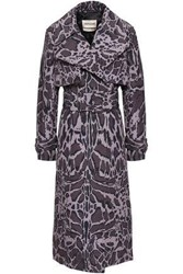 Roberto Cavalli Woman Belted Leopard Print Shell Trench Coat Animal Print