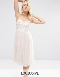 Needle And Thread Embroidered Bust Tulle Midi Dress Petal Pink