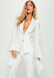 Missguided White Extreme Frill Sleeve Crepe Tailored Blazer