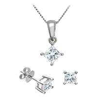 Diamond Collection 18Ct White Gold Princess Cut Solitaire Stud Earrings And Pendant Necklace Jewellery Set 1.00Ct
