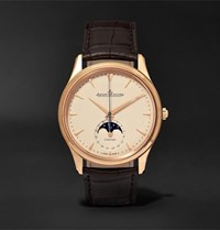Jaeger Lecoultre Master Ultra Thin Moon 39Mm 18 Karat Rose Gold And Alligator Watch Cream