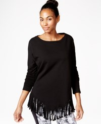 Betsey Johnson Fringed Top Black