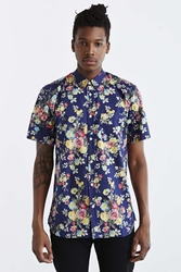 Your Neighbors Rose Floral Button Down Shirt Navy