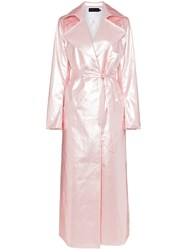 Michael Lo Sordo Belted Maxi Length Trench Coat Pink