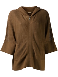 Maison Ullens Hooded Knit Jacket Brown