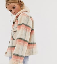 Urban Bliss Brushed Check Boxy Jacket With Faux Fur Trims Multi