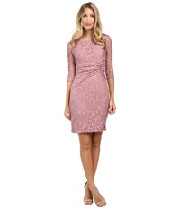 Adrianna Papell Lace Overlay With Sleeve Dress Ash Rose Women's Dress Pink