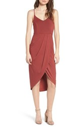 Soprano Pleated Wrap Dress Rust Marsala
