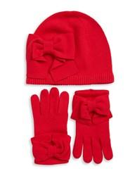 Kate Spade Bow Knit Beanie And Gloves Set Red