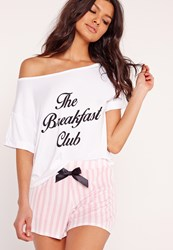 Missguided The Breakfast Club Pyjama Set Pink Pink