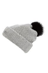 Burberry Women's Wool And Cashmere Beanie With Genuine Fox Fur Pom Grey Mid Grey
