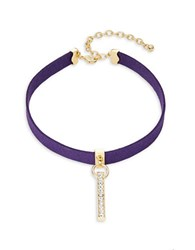 Design Lab Lord And Taylor Pave Bar Accented Velvet Choker Necklace Purple