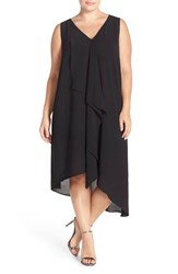 Plus Size Women's Adrianna Papell Sleeveless Asymmetrical Front Drape Crepe Shift Dress Black