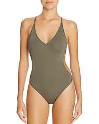 Vince Camuto Stud Embellished One Piece Swimsuit Dark Sage