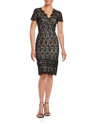 Nue By Shani Short Sleeve Lace Sheath Dress Black Nude