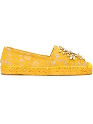 Dolce And Gabbana Embellished Lace Espadrilles Yellow And Orange