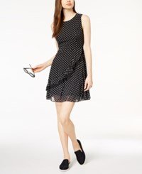 Maison Jules Ruffled Fit And Flare Dress Created For Macy's Deep Black