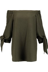 Tibi Owen Off The Shoulder Twill Tunic Army Green