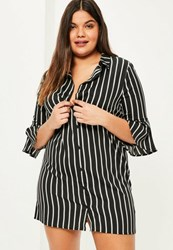 Missguided Plus Size Navy Striped Shirt Dress
