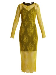 Diane Von Furstenberg Long Sleeved Bead Embellished Lace Dress Yellow