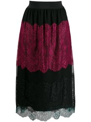 Twin Set Colour Block Lace Skirt Black