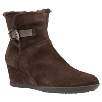 Geox Amelia Wedge Ankle Boots Coffee