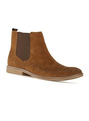 Topman Tan Faux Suede Chelsea Boots Brown