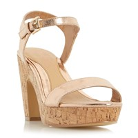 Head Over Heels Indiya Two Part Cork Platform Sandals Rose Gold