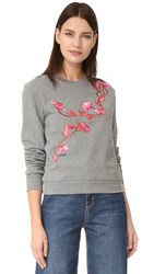 Carven Embroidered Sweatshirt Gris Clair Chine