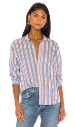Frank And Eileen Button Down In Blue. Blue And Red Stripe