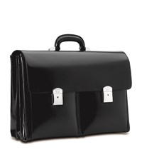 Pineider Triple Compartment Leather Briefcase Black