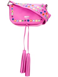 Moschino Mirror Embellished Cross Body Bag Pink Purple