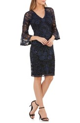 Js Collections Bell Sleeve Bead And Soutache Cocktail Dress Navy