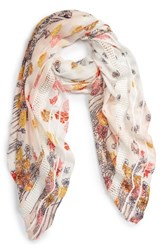 Hinge Women's Playful Poppies Lace Inset Scarf Tan Combo