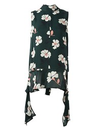 Marni Floral Print Sleeveless Blouse Green