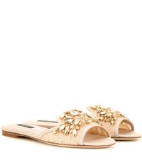 Dolce And Gabbana Embellished Lace Slippers Pink