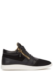 Giuseppe Zanotti Black And Gold Leather Trainers
