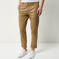 River Island Mens Brown Stretch Cropped Slim Chino Trousers