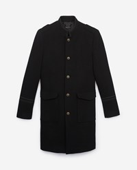 The Kooples Oversized Wool Coat With Leather Collar